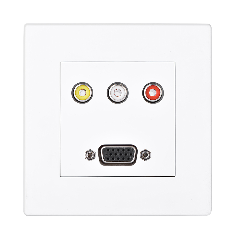 Outlet Faceplate Wall Face Plate 3Rca Av Audio  Vga Jack Outlet Socket Assorted